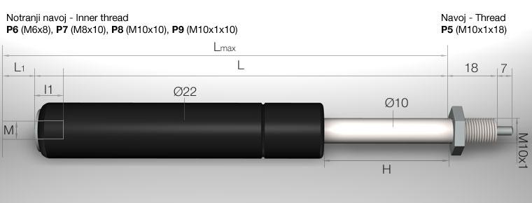 c2 nastavljiva plinska vzmet krajsa